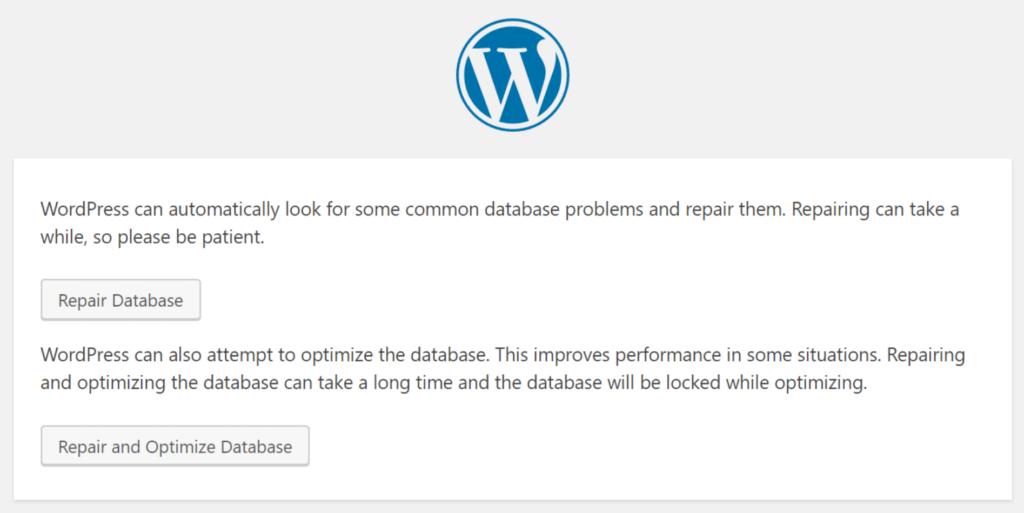Reparer databasen