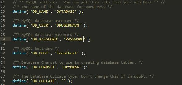 Oplysninger til databasen